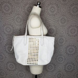Fossil Studded Bone Leather tote Shopper handbag